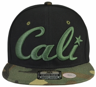 Cali Black Hat Camo Brim Green Embroidered Snapback Hat - Click to enlarge
