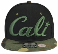 Cali Black Hat Camo Brim Green Embroidered Snapback Hat