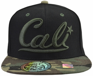 Cali Black Hat Camo Brim With Green Embroidery - Click to enlarge