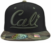 Cali Black Hat Camo Brim With Green Embroidery