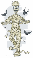 Cartoon Mummy & Bats Cardboard Cutout Life Size Standup