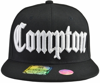 Compton Black Brim White Embroidered Snapback Hat - Click to enlarge