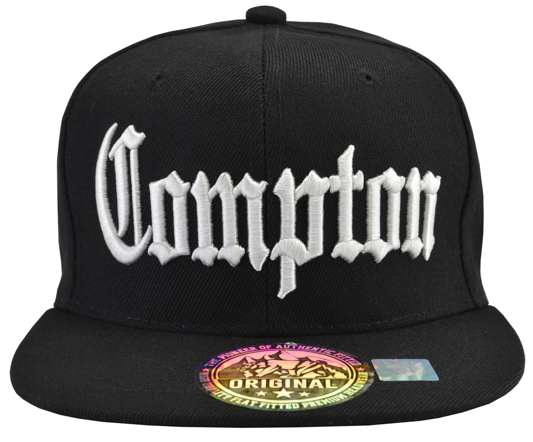 1ea509ce2ac Compton Black Brim White Embroidered Snapback Hat   IncredibleGifts