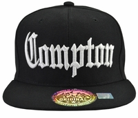 Compton Black Brim White Embroidered Snapback Hat