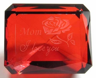 Custom Engraved Emerald Cut Ruby Paperweight  2 1/8 X 1 3/4 Inches - Click to enlarge