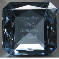 "Custom Engraved Emerald Cut Ruby Paperweight, 4"" Square 100mm"