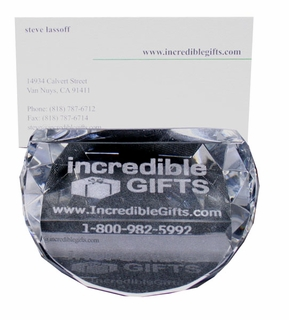 Custom Laser Engraved Glass Business Card or Place Card Holders (12 Pieces) - Click to enlarge
