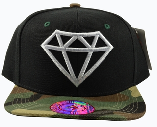 Diamond Black Hat Camo Brim White Embroidered Snapback Hat - Click to enlarge