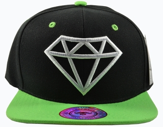 Diamond Black Hat Green Brim White Embroidered SnapbackHat  - Click to enlarge