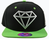 Diamond Black Hat Green Brim White Embroidered SnapbackHat