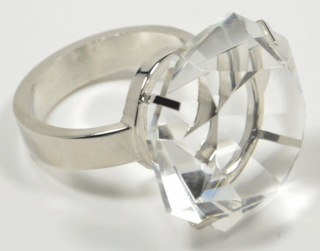 Diamond Glass Napkin Holder & Paperweight with Classic Silver Metal Ring - Click to enlarge