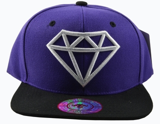 Diamond Purple Hat Black Brim White Embroidered Snapback Hat - Click to enlarge