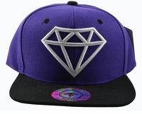 Diamond Purple Hat Black Brim White Embroidered Snapback Hat