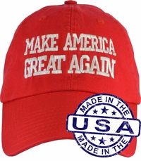 Donald Trump Make America Great Again Hat - 100% Made in the USA - Red Strap Back