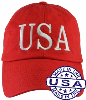 Donald Trump USA 45 Hat - 100% Made in the USA - Red Strap Back - Click to enlarge
