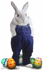 Easter Bunny Overalls Cardboard Cutout Life Size Standup