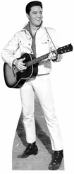 Elvis B&W White Jacket Cardnoard Cutout Life Size Standup