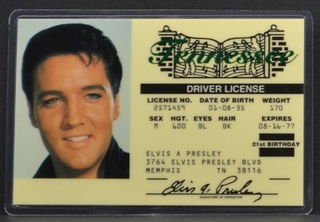 Elvis Presley Driver License ID - Click to enlarge