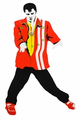 Elvis Presley Red with White Stripe Swinging Legs Clock