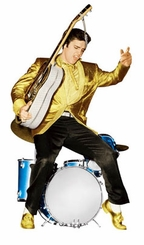 Elvis Presley with guitar and drums Cardboard Cutout Life Size Standup