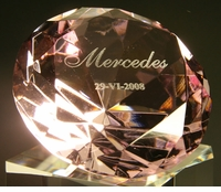 "Laser Engraved Diamond Paperweight 2.5"" Diameter 60mm"