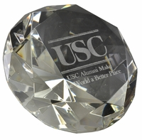"Engraved Diamond Paperweight Without Stand, 5"" Diameter 120mm"