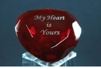 Laser Engraved Heart Paperweight, 2.25 Inches in Diameter 60mm