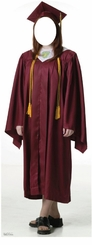 Female Graduate Red Cap and Gown Stand-In Cardboard Cutout Life Size Standup