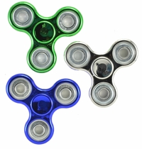 Fidget Spinner 3 Piece Set (Silver, Green, and Blue) Metallic