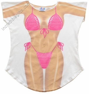 Fuchsia Macrame Bikini Cover-Up T-Shirt - Made in America - Click to enlarge