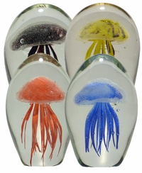 Glass Jellyfish 4.5 Inch Glow in the Dark Paperweights