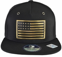 Gold Metallic American Flag Black Hat