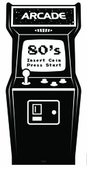 Golden Age Black and White Video Arcade Cardboard Cutout Life Size Standup