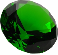 Green Brilliant 3.15 Inch (80mm)  Diamond Shaped Paperweight