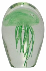 Green Glass Jellyfish 4.5 Inch Glow in the Dark Paperweight