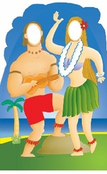 Hawaiian Couple Stand-In Cardboard Cutout Life Size Standup