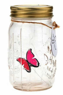 Hot Pink Flying Butterfly Bottle Glass Jar  - Click to enlarge