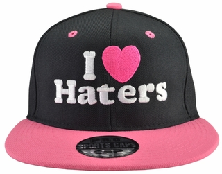 I Love (Heart) Haters Black Hat Pink Brim - Click to enlarge