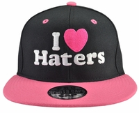 I Love (Heart) Haters Black Hat Pink Brim