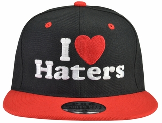 I Love (Heart) Haters Black Hat Red Brim - Click to enlarge