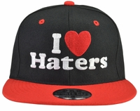 I Love (Heart) Haters Black Hat Red Brim