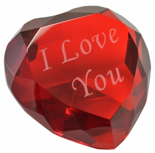 I Love You Heart Shaped Paperweight, 3.125 Inches - Click to enlarge