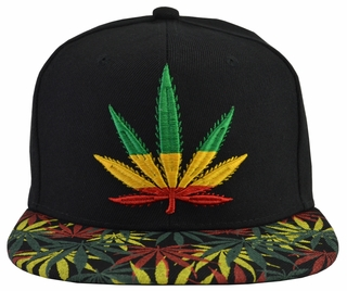Jamaican Pot Leaf Black Hat Green Brim - Click to enlarge