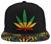 Jamaican Pot Leaf Black Hat Green Brim