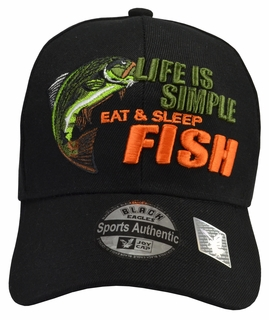 Life is Simple - Fish, Eat & Sleep Black Hat - Click to enlarge