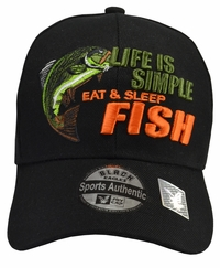 Life is Simple - Fish, Eat & Sleep Black Hat