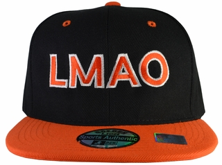 LMAO Black Hat Orange Brim Snapback - Click to enlarge