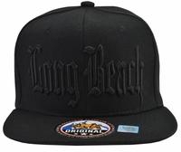Long Beach Black Hat with Black Embroidery