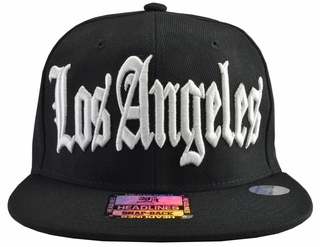 Los Angeles Black Brim White Embroidered Snapback Hat - Click to enlarge
