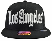 Los Angeles Black Brim White Embroidered Snapback Hat